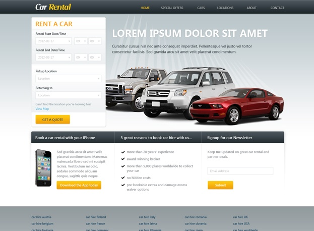 Template # 160  Free Car Rental Website Template is great solution for car rental or rent a car website. Gain advantage over your competitors by reducing design costs and time. Download our professionally designed car rental template to refresh your web design and style.  Price: FREE Format: #PSD #webdesign #webtemplates