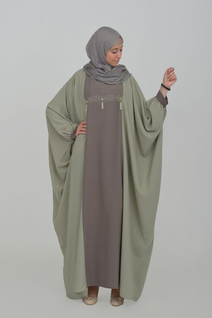 abaya papillon avec broderie