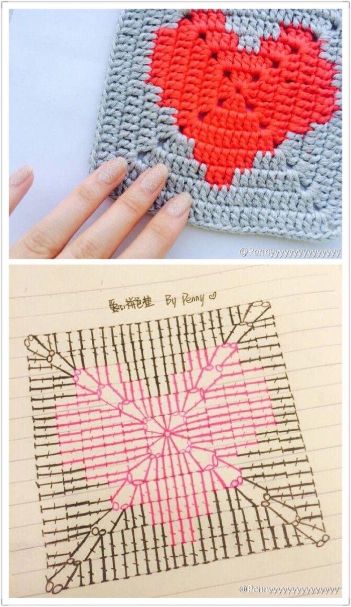 拼花 方块 钩针 图解, #haken, gratis teltekening, haakschema, granny square met hart, #haakpatroon, #crochet, free chart, diagram, granny square with heart