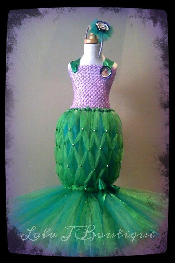 Mermaid Tutu Costume Dress SET - ALL SIZES Newborn Toddler Infant Girls Little Disney  Peter Pan Bubble Guppies Princess Teal Green Disney