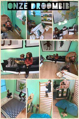 We brainstormden samen: plekje om te liggen, zitten, samen, alleen, tafel om rond te zitten, kring, sportraam, houten vloer, lichtgroene muren,... Aangezien we een bon van Ikea kunnen winnen, hebben we op de site wat meubels bekeken en gekozen en dan nog wat aangevuld met nog wat andere meubels, daarna gingen we aan het printen en knippen. Een andere groep ging aan het schilderen, tekenenMet een andere groep deden we een fotosessie met verschillende boeken van mol en beer.