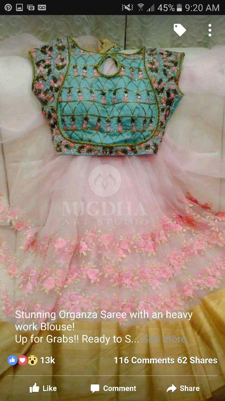 Organza saree with heavy blouse