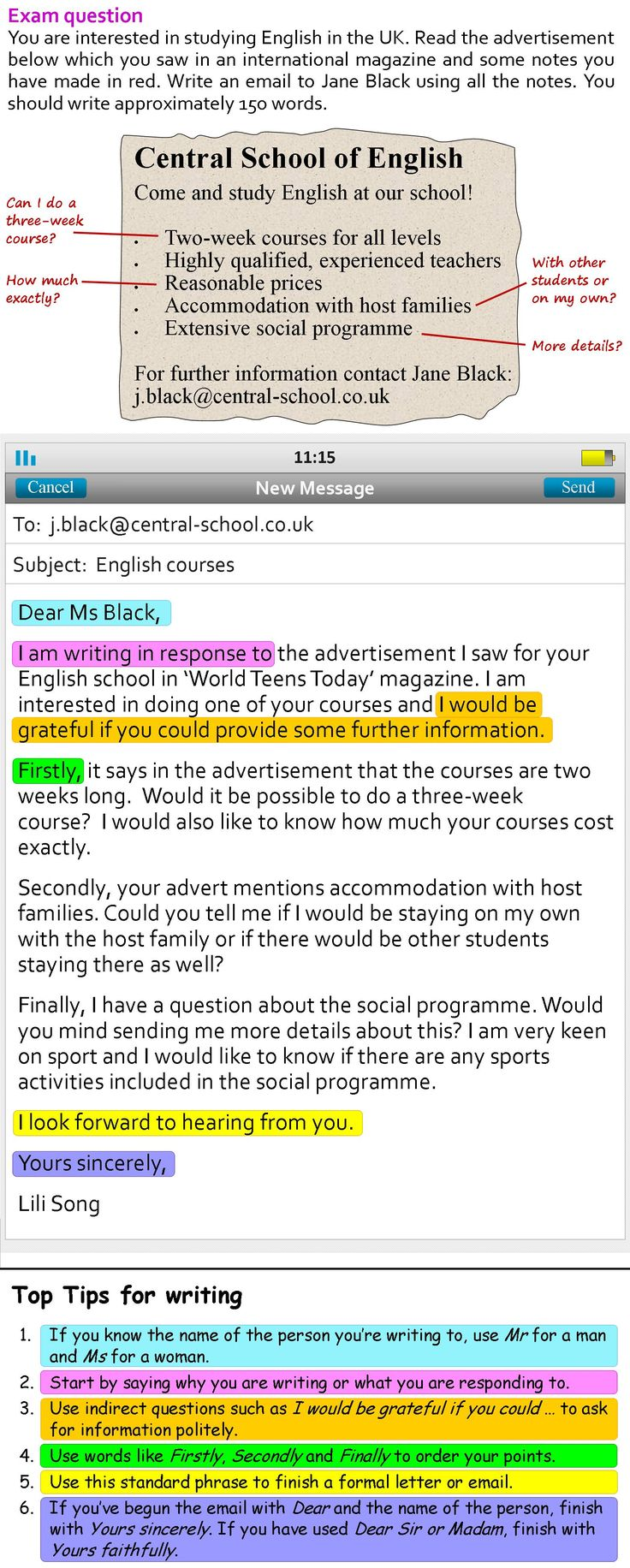 A more formal email -  http://learnenglishteens.britishcouncil.org/skills/writing-skills-practice/more-formal-email?utm_source=facebook&utm_medium=social&utm_campaign=bc-learnenglishteens