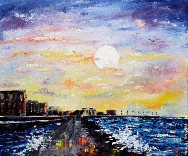 Городской морской закат, картина масло, Sunset on the sea, by Victoria Sokolova oil, canvas, 50*60, 2015