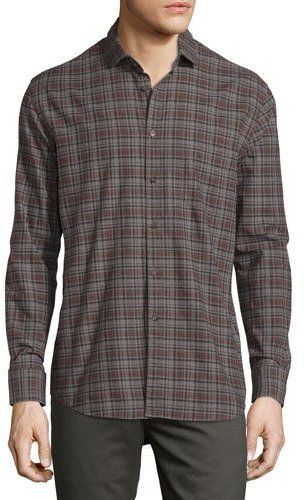 Billy Reid John Plaid Oxford Shirt, Gray/Brown
