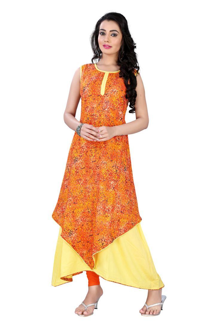 New Arrival Orange Rayon Dress Kurti Summer Collection By TheEmpireHub by TheEmpirehub on Etsy