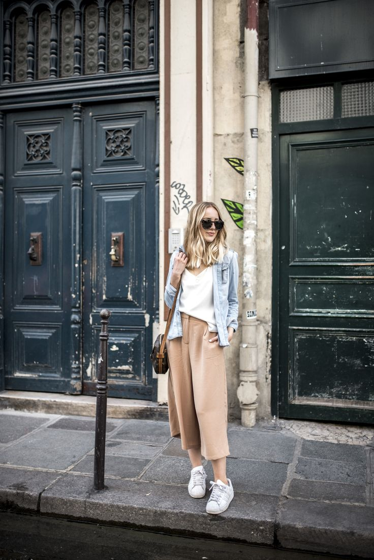 Spring style - denim, pale pink & white trainers!