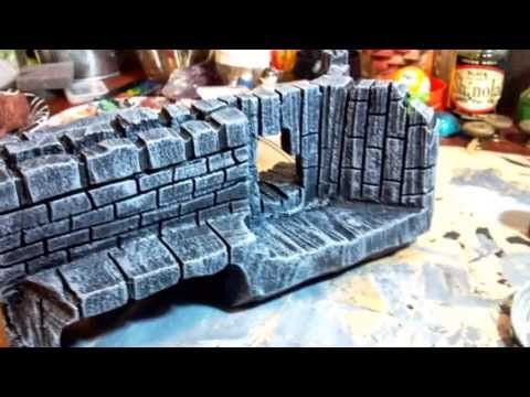 RPG/Wargame Terrain; Ruins Sculpted from Recycled Foam Packaging