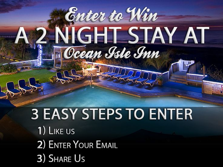 I just Pinned to win a 2 Night stay at the Ocean Isle Inn in Ocean Isle Beach. Pin for your chance to enter this awesome giveaway opportunity.