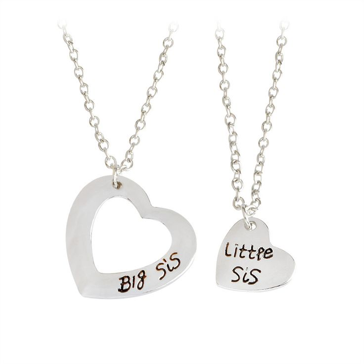 Big Sis Little Sis Matching Necklace Set for Kids & Tweens
