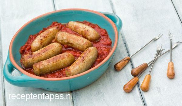 Spaanse worstjes in tomatensaus