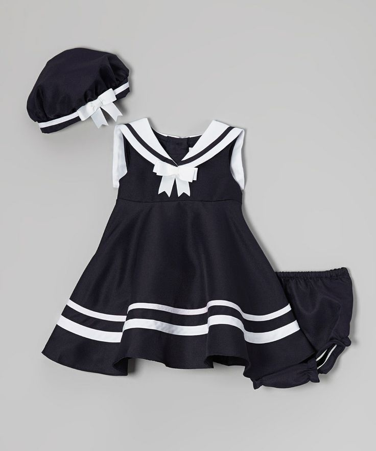 Look what I found on #zulily! Navy Nautical Dress Set - Infant by Rare Editions #zulilyfinds
