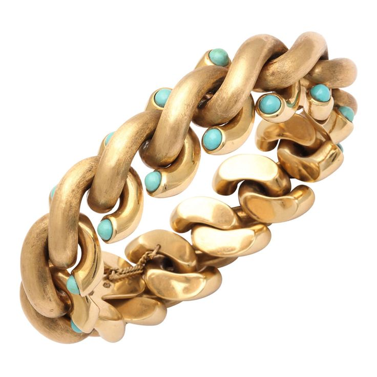 Weingrill Turquoise Gold Bracelet | From a unique collection of vintage link bracelets at https://www.1stdibs.com/jewelry/bracelets/link-bracelets/