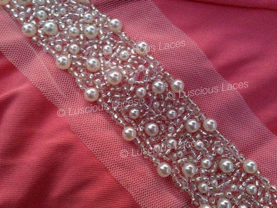 Pearl Bridal Trim, Wedding Trim with Pearls and Buggle Beads, Bridal Sash in…