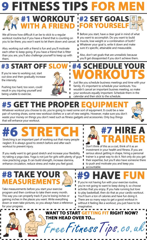 9 useful fitness tips for men who are just getting started on their fitness journey. #infographics #fitness #weightloss