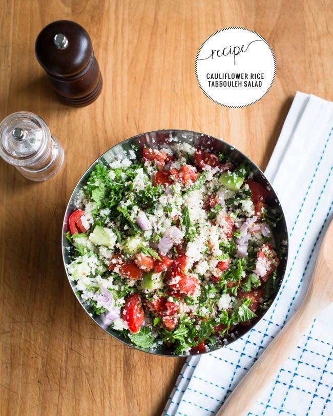 Cauliflower Rice Tabbouleh Salad Recipe | http://helloglow.co/cauliflower-rice-salad/
