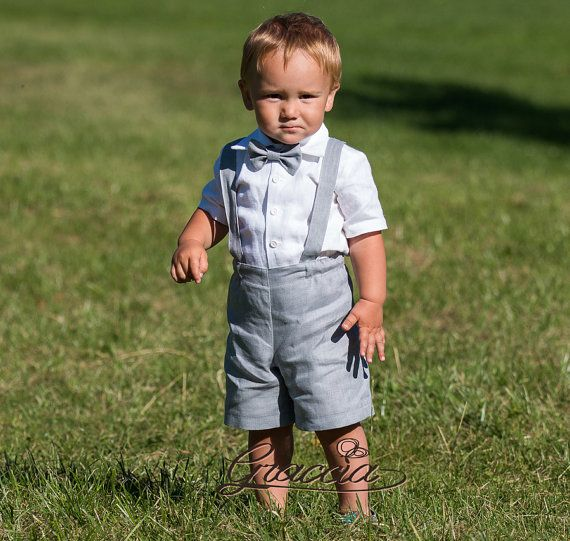Boy linen suit ring bearer outfit baby boy suspenders by Graccia