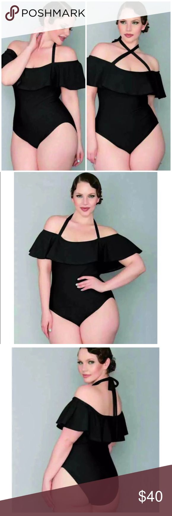 Velvet Off Shoulder Ruffle Plus Size Swimsuit Beautiful Velvet Off Shoulder Ruffle Halter Tie Plus Size Swimsuit --- Black Velour Fabric --- Padded bust --- Please refer to size chart, in general you will need to order one size up --- Price firm unless bundled --- Please feel free to ask any questions Boutique Swim One Pieces