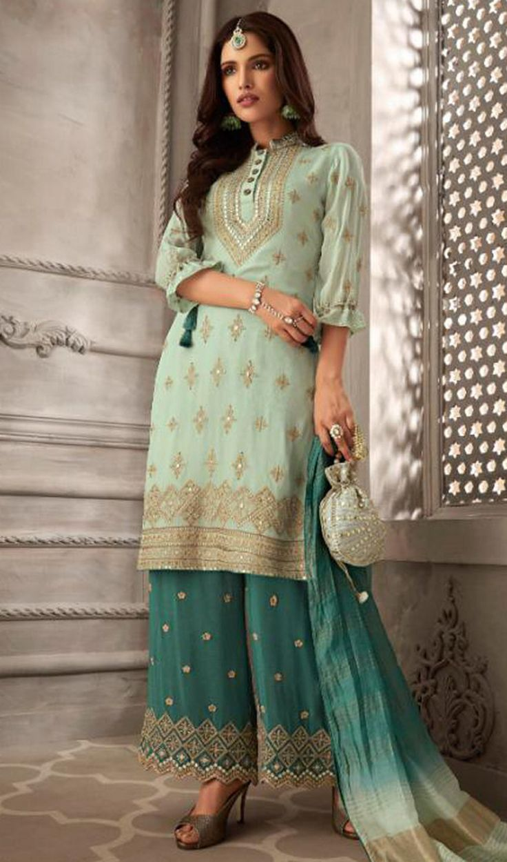 Embroidered Green Color Georgette Palazzo Suit   Indian ...
