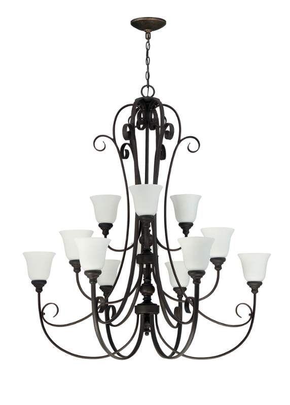 """Jeremiah Lighting 24212-WG Barrett Place 12 Light 50"""" Wide 2 Tier Chandelier Metropolitan Bronze Indoor Lighting Chandeliers"""