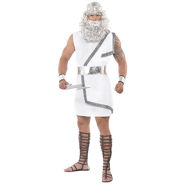 Griekse god Zeus kostuum voor heren. Dit witte Zeus kostuum voor heren bestaan uit een toga met een riem arm machetten en een bliksemschicht.