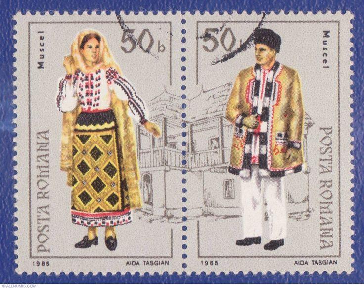 50 Bani 1985 - Costume populare româneşti - Muscel, 1985 - Romania - Stamp - 1548