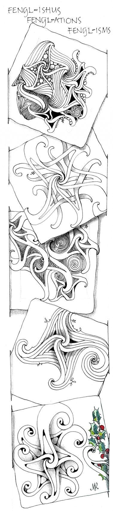 """Fengl-ishus"" | ""Fengl-ations"" | ""Fengl-isms"" newest tangles from Zentangle: Art Zentangles, Fengle Zentangles, Drawing Zentangles, Art Inspiration, Fengle B Zentangles, Zentangle Doodle, Zentangle Pattern, Doodles Zentangles"