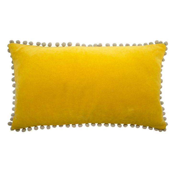 Pom Pom Yellow Cushion – Linen & Moore