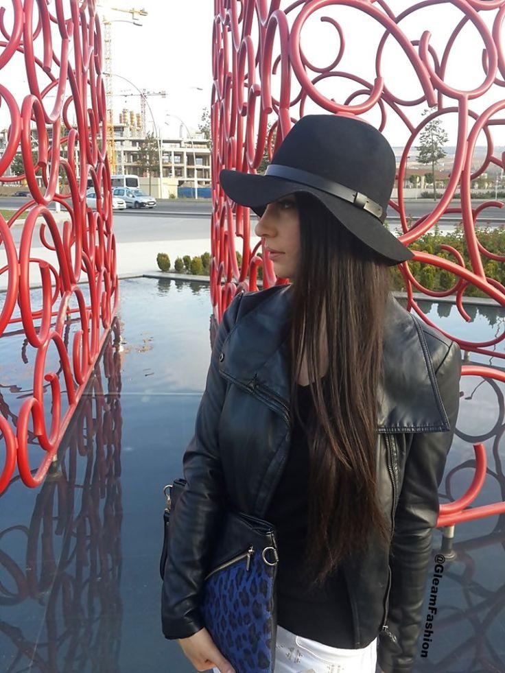 rock-chic-siyah-deri-ceket-hm-şapka-beyaz-pantolon-gleam-fashion-blog-style-blogger