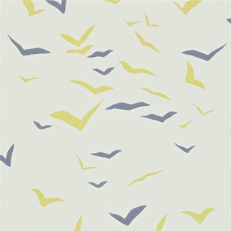 Chalk / Sunflower / Graphite - 110209 - Flight - Melinki - Scion Wallpaper