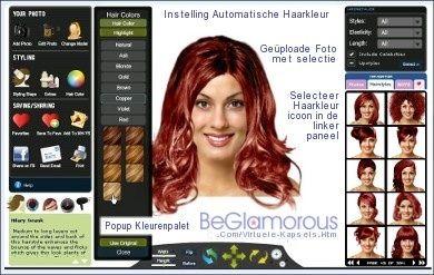 Probeer haarkleuren en kapsels op uw geüploade foto