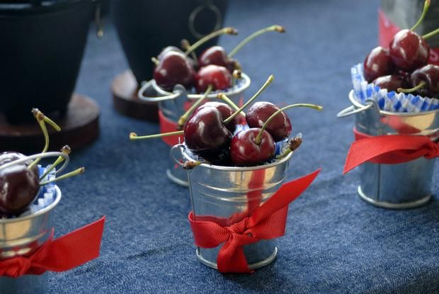 All-American Campout - Metal Buckets filled with Cherries in a Checkered Cupcake Wrapper