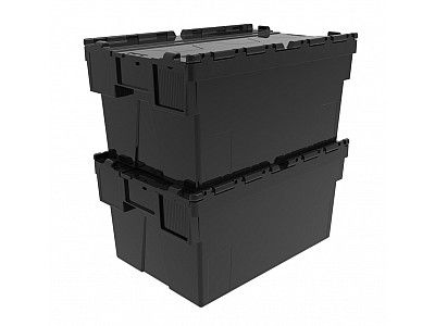 56 Litre Super Strong Recycled Attached Lid Container - Lidded Plastic Storage Box
