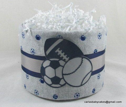 Mini diaper cake  Boy diaper cake  Sports by MsCarlasBabyCakes