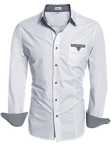 HOTOUCH Mens Botton Down Linen Shirts Long Sleeve