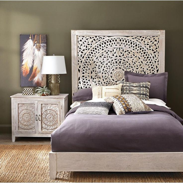 Mystical Mandala Carved Wood Boho Bed Compare to