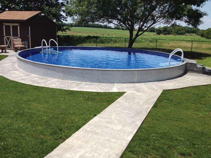 Radiant pools radiant semi inground pools patio for Above ground pool decks indianapolis