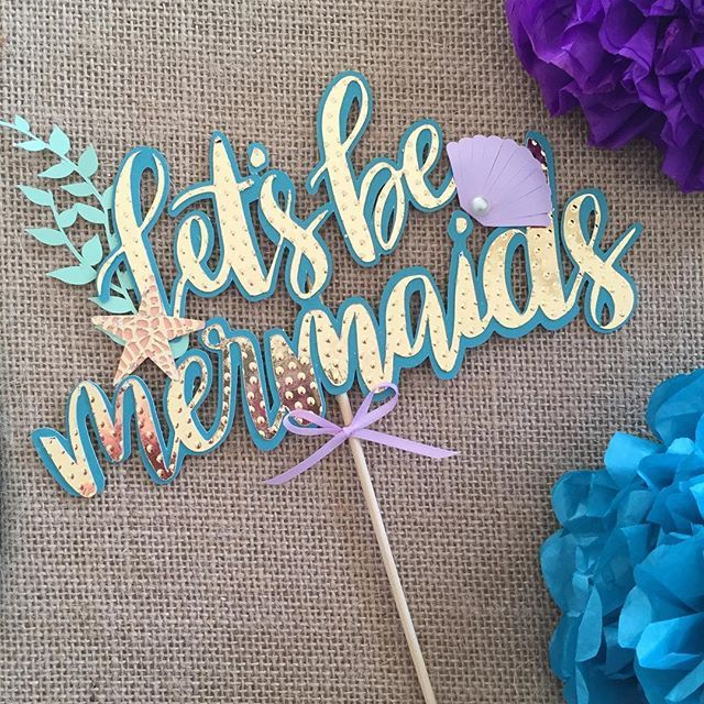 Let's be mermaids!! Wouldn't life be sweet. Cutest little cake topper to add some sparkle to a #mermaidtheme #birthdayparty #etsy #poppiesandpapershop #mermaid #mermaidcaketopper