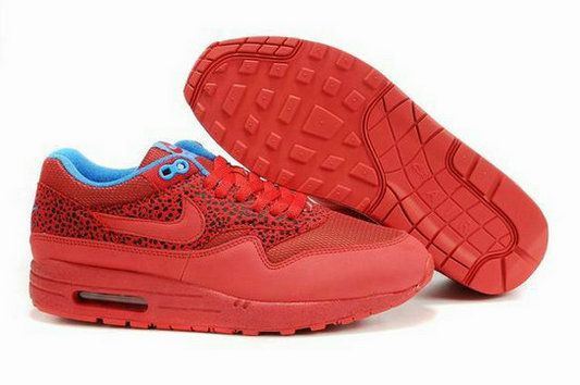 Men's Nike Air Max 1 Running Red Blue Cheap 0cw486