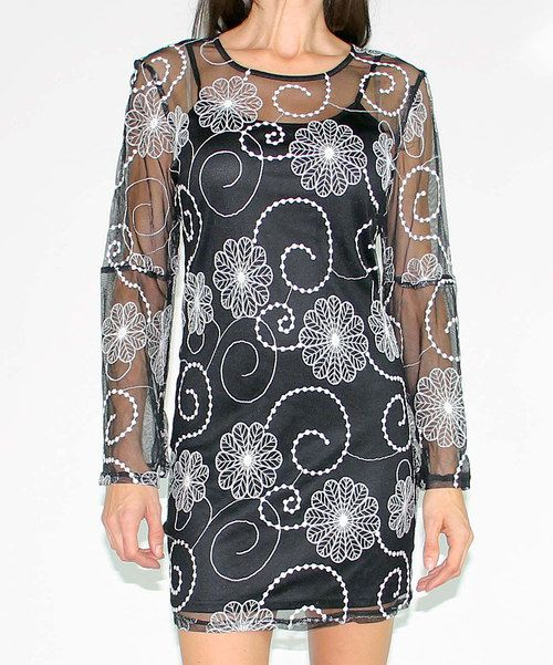 Another great find on #zulily! Black Sheer Floral Swirl Lace Shift Dress by Design 26 #zulilyfinds