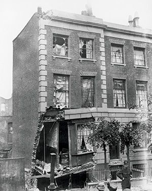 A house in Shoreditch damaged by a Zeppelin raid, July 1915. Getty Images/Hulton Archive