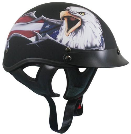 Moto Shorty Casque d.O.T Approved-Noir Flaming Skull