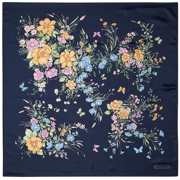 Aspinal of London Bouquet Of Flowers Silk Scarf In Blue found on Polyvore featuring accessories, scarves, backgrounds, blue pure silk, flower scarves, silk shawl, blue scarves, floral shawl and silk scarves