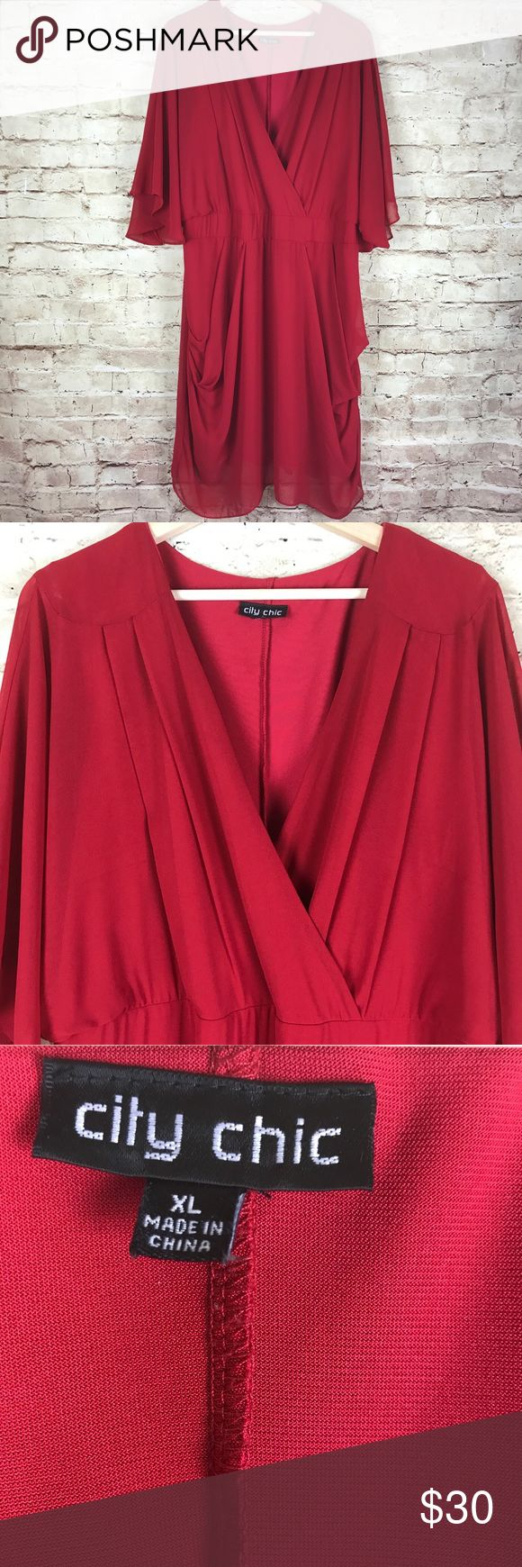 City Chic Red Empire Waist Dress Plus Size XL City Chic Women's Dress  Red  Sheer  Ruched  Empire Waist  Short Sleeve  Plus Size XL Approximate measurements: chest 23 inches; sleeve 18 inches; length  (shoulder to hem) 42 inches City Chic Dresses