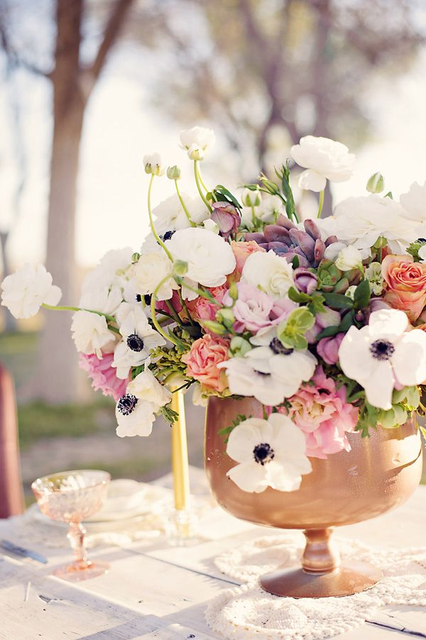 peach, purple, pink and white floral centerpieces