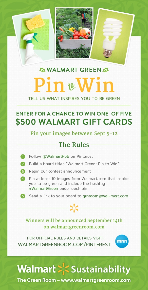 Join us for our first Pinterest contest! Show us how Walmart products inspire you to be green and enter for a chance to win one of five Walmart Gift Cards!   Contest rules: www.walmartgreenroom.com/pinterest-rules   #WalmartGreenGreen Pin, Walmart Green, Pinterest Cases, Win Walmartgreen, Contest Walmartgreen, Gift Cards, Pinterest Things, Pinterest Contest, Walmart Pinterest