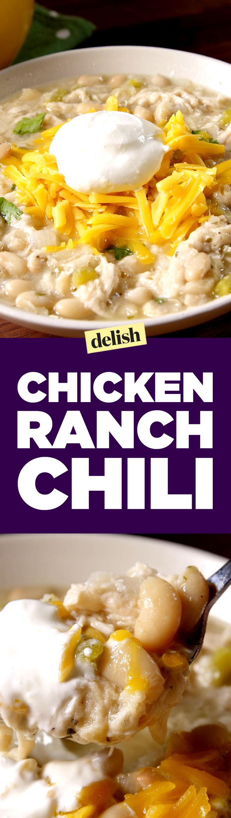 Chicken Ranch Chili is a new look and new taste that you'll love. Get the recipe on Delish.com.