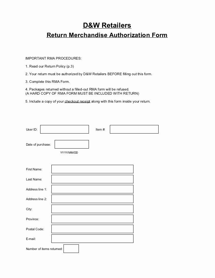 Return Authorization Form Template Luxury Return Merchandise Authorization Form Templates Survey Template Contract Template