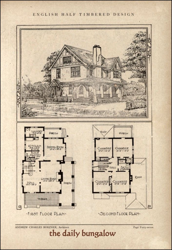 339 best vintage home plans images on pinterest vintage for Old style craftsman house plans