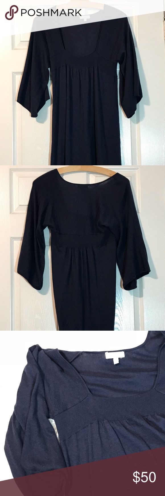 Joie Dark Blue Wool Cashmere Dress Size Large Joie  Blue Dress Size Large. Preowned. Wide 3/4 bell sleeves. Low U neckline and slightly Pleated at waist.   Length 36 inches  Size large Nylon / Rayon / Wool / Cashmere Dry clean Joie Dresses